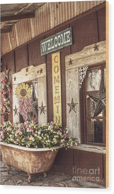 Rustic Country Welcome Wood Print