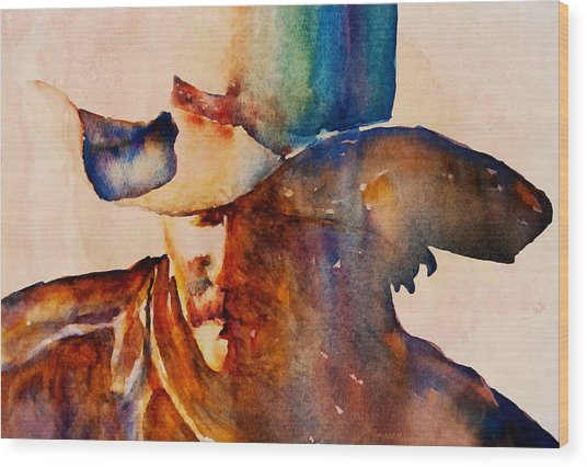 Wood Print featuring the painting Rustic Cowboy by Jani Freimann