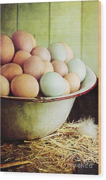Rustic Farm Raised Eggs Wood Print
