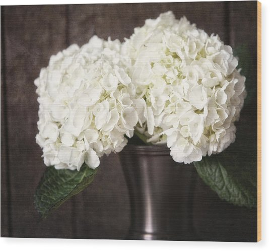 Rustic Hydrangea In A Bronze Vase With Barnwood Wood Print by Lisa Russo