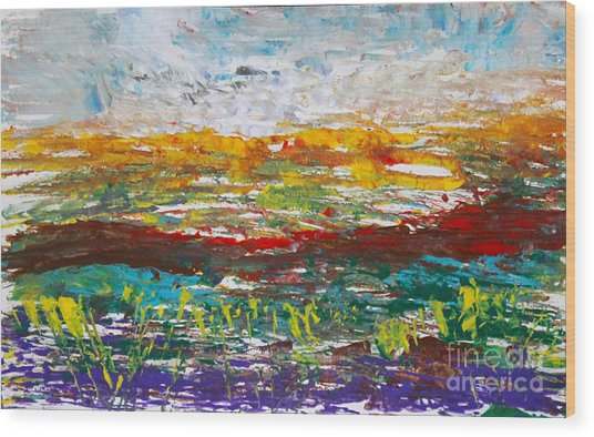 Rustic Landscape Abstract Wood Print