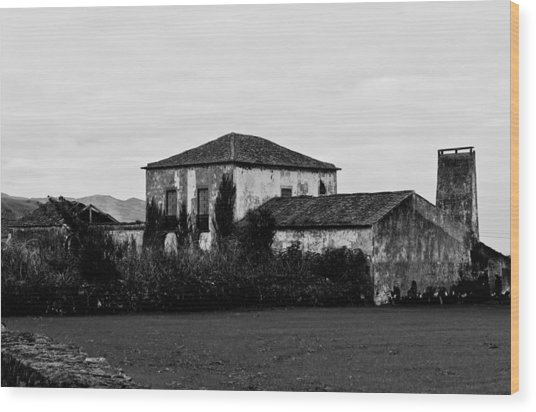 Rustic Outbuildings In A Field  Wood Print