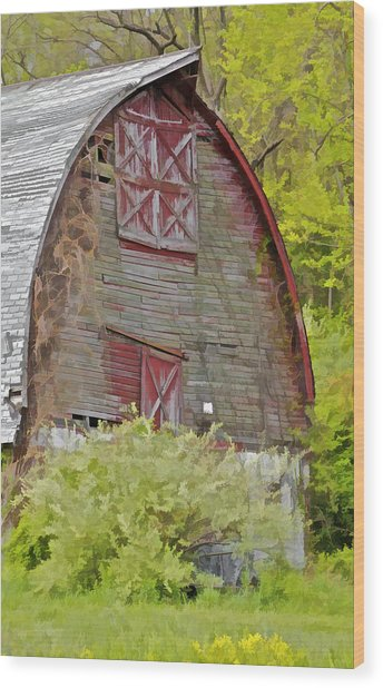 Rustic Red Barn II Wood Print