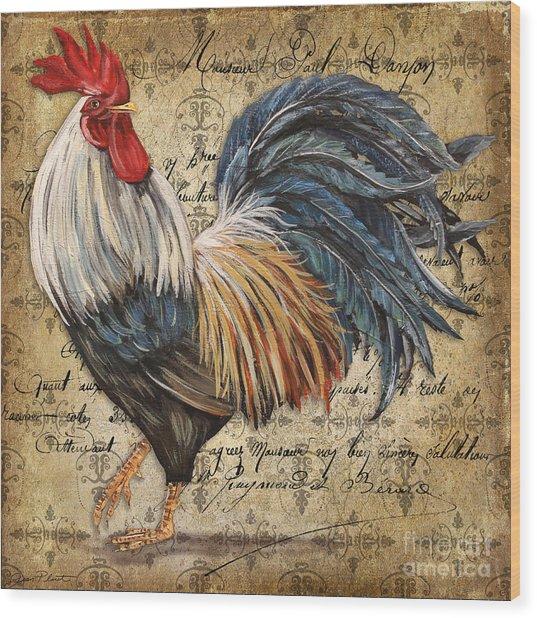 Rustic Rooster-jp2119 Wood Print