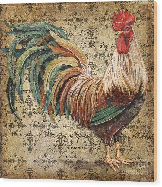 Rustic Rooster-jp2120 Wood Print