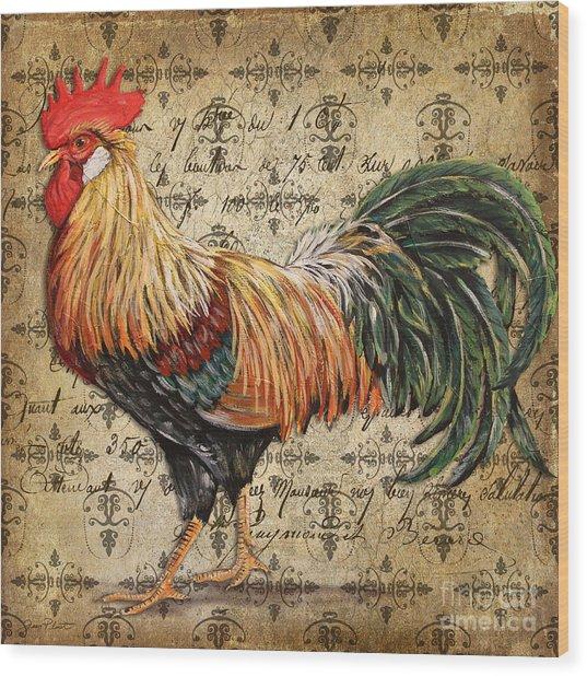 Rustic Rooster-jp2121 Wood Print