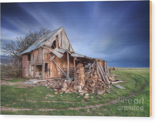 Rustic Ruin Wood Print by Shannon Rogers