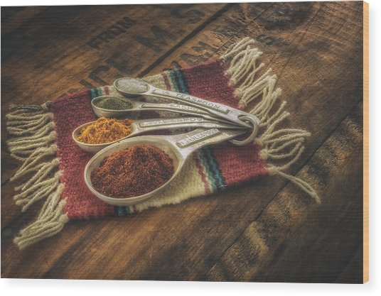 Rustic Spices Wood Print