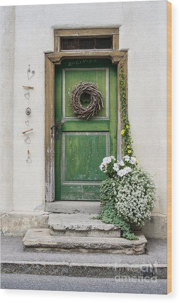 Rustic Wooden Village Door - Austria Wood Print
