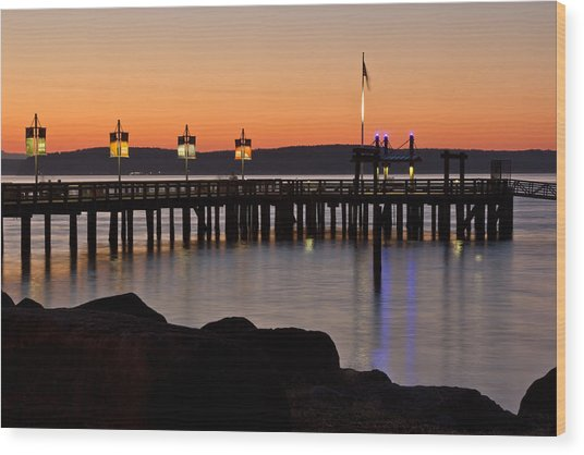 Ruston Way Tacoma Sunset Wood Print