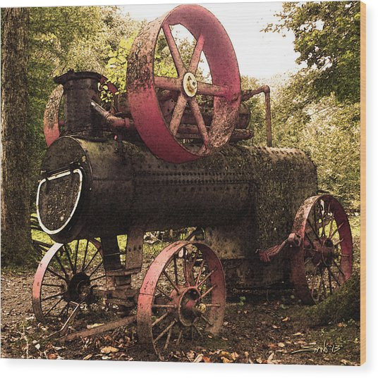 Rusty Antique Steam Engine Wood Print