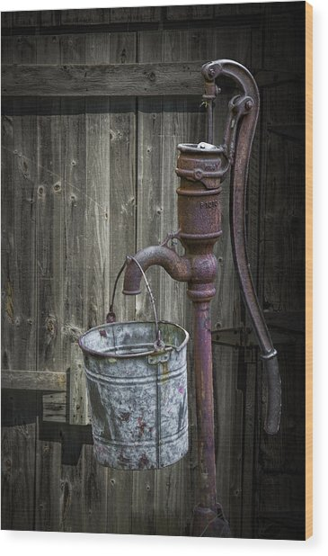 Rusty Hand Water Pump Wood Print