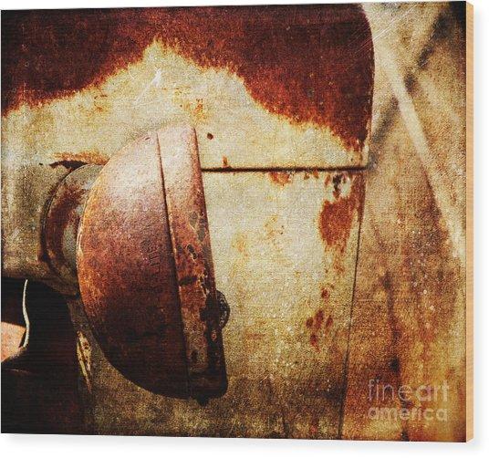 Rusty Headlamp Wood Print