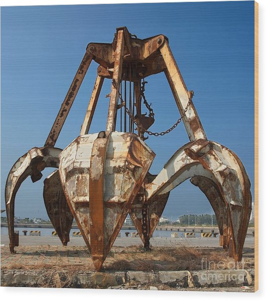 Rusty Obsolete Dredging Equipment Wood Print