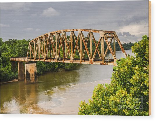 Rusty Old Railroad Bridge Wood Print