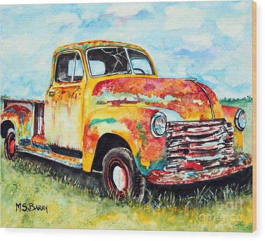 Rusty Old Truck Wood Print