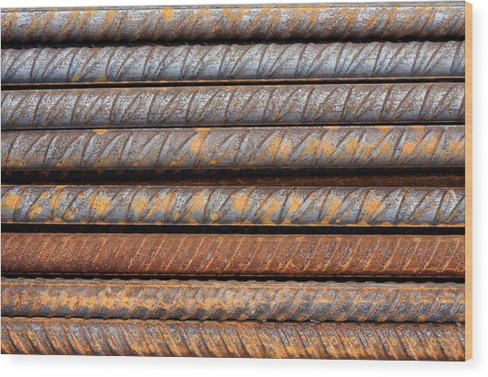 Rusty Rebar Rods Metallic Pattern Wood Print