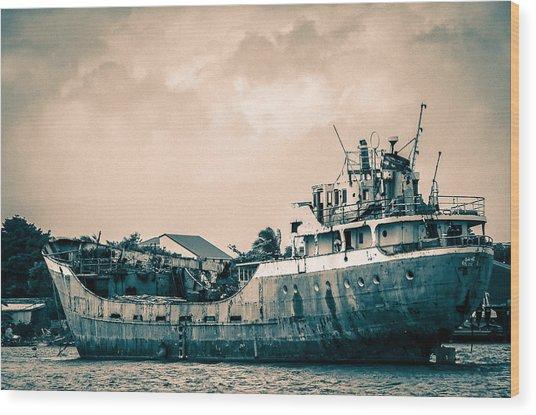 Rusty Ship Wood Print