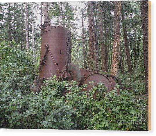 Rusty The Old Steamdonkey Wood Print by Val Carosella