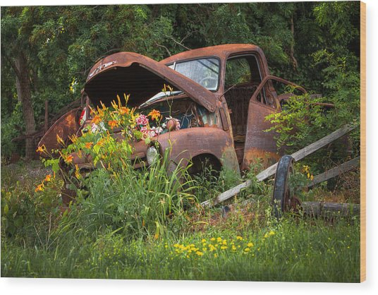 Rusty Truck Flower Bed - Charming Rustic Country Wood Print