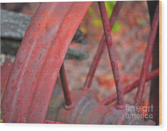Rusty Wheel Wood Print