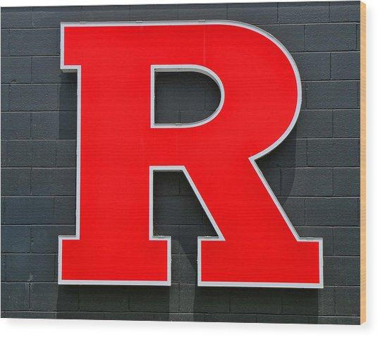 Rutgers Block R Wood Print