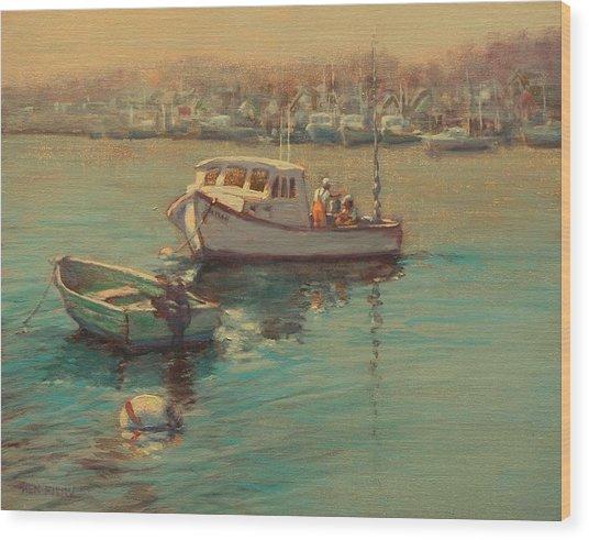 Rye Harbor Lobstermen Wood Print