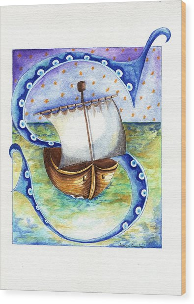 S Is For Sailing Wood Print
