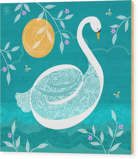 S Is For Swan Wood Print