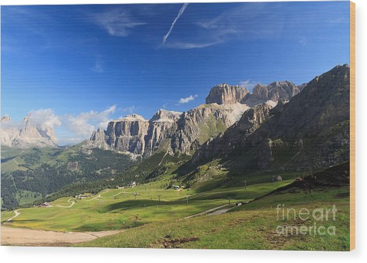 Saas Pordoi And Fassa Valley Wood Print