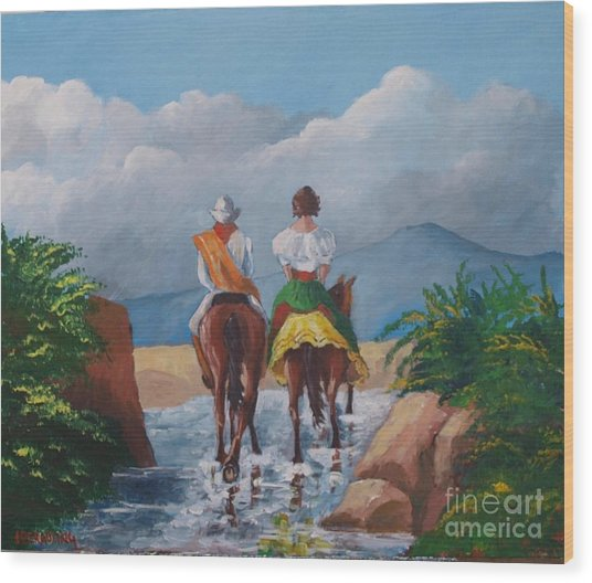 Sabanero And Wife Crossing A River Wood Print