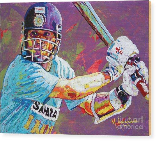 Sachin Tendulkar Wood Print