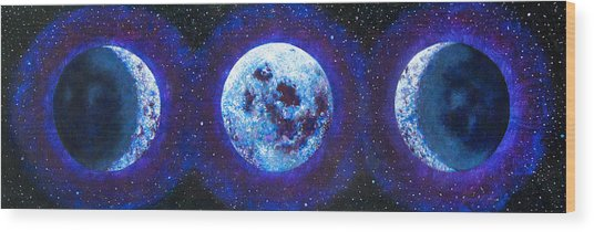 Sacred Feminine Blue Moon Wood Print