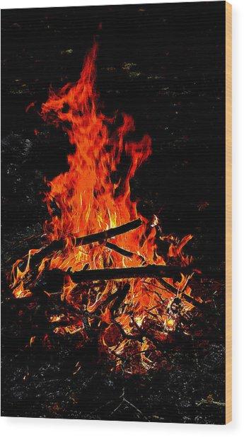 Sacred Fire Wood Print by David  Brown
