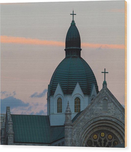Wood Print featuring the photograph Sacred Heart At Sundown by Ed Gleichman