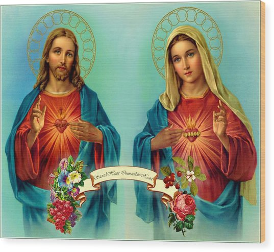 Sacred Heart Immaculate Heart  Wood Print
