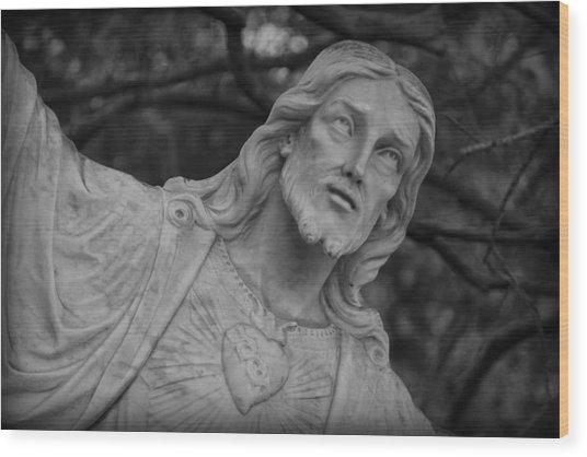 Sacred Heart Of Jesus - Bw Wood Print