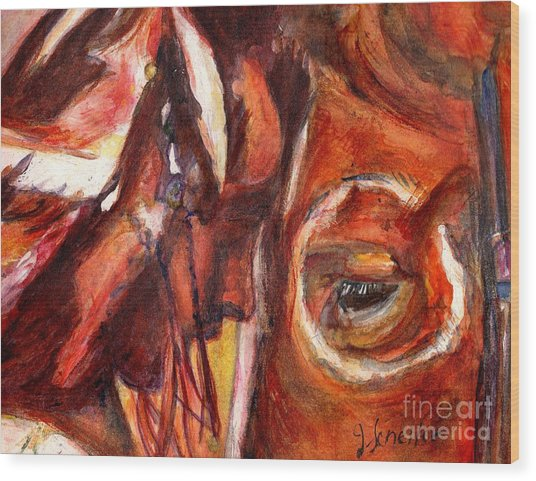 Sacred Horse With Indian Wood Print by Jodie  Scheller