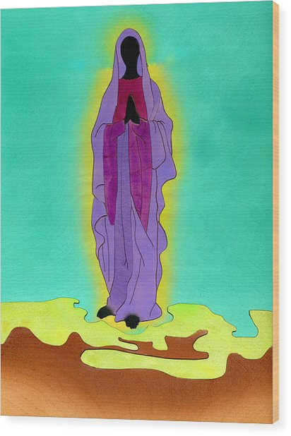 Sacred Mother Mary Wood Print