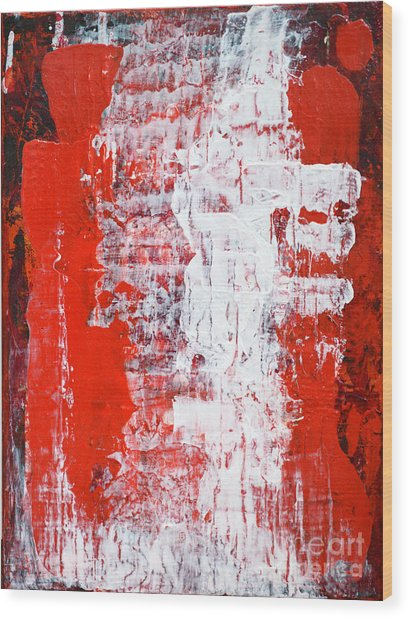 Sacrifice Red White Abstract By Chakramoon Wood Print by Belinda Capol