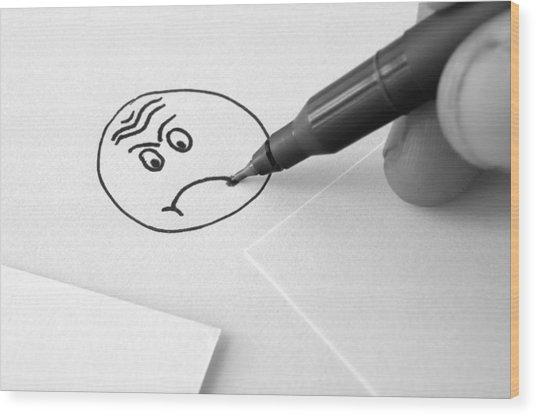 Sad Face Drawing  Wood Print by Ioan Panaite