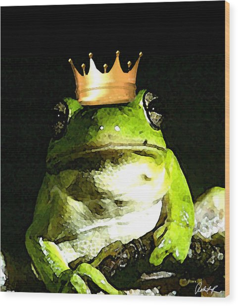 Sad Frog Prince - Digital Watercolor Print Wood Print