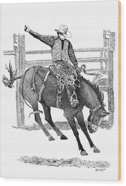 Saddle Bronc Wood Print