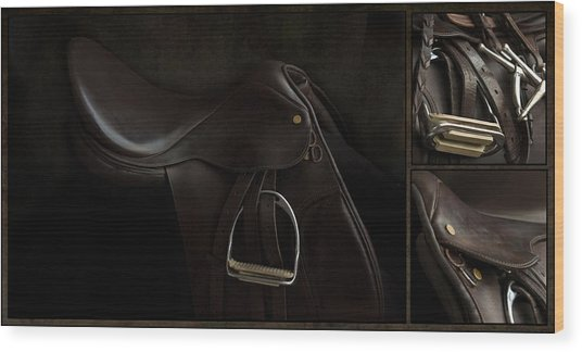 Saddle Triptych Wood Print