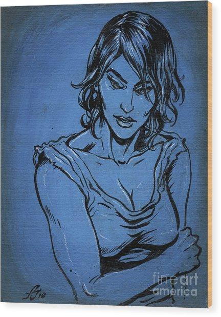 Sadie Blue Wood Print