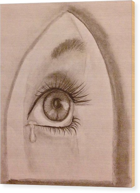Sadness In The Eye Wood Print