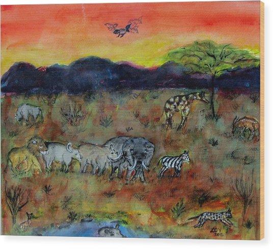 Safari In The Masia Mara Wood Print