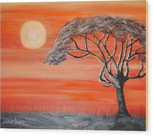 Safari Sunset 2 Wood Print