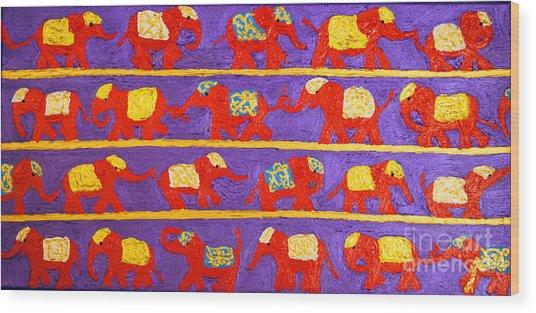 Saffron Elephants Wood Print