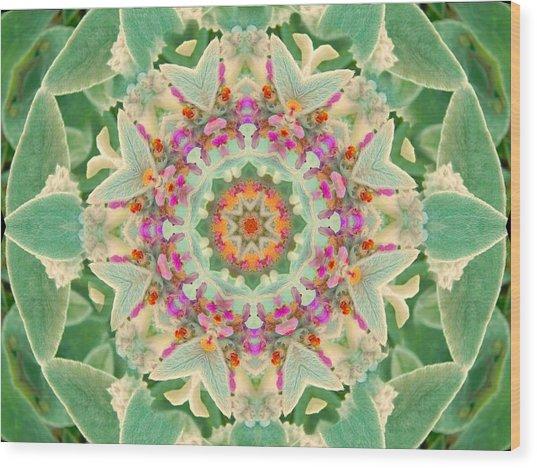 Sage Flower Mandala Wood Print